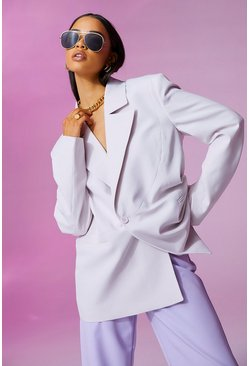 Lilac purple Colour Block Oversized Blazer