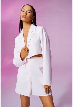 Pale pink pink Cropped Fitted Blazer