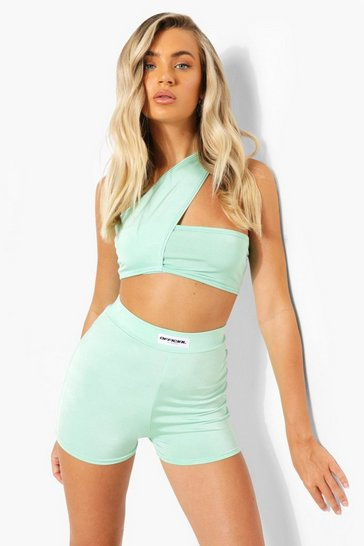 Green Recycled Branded Slinky Booty Shorts