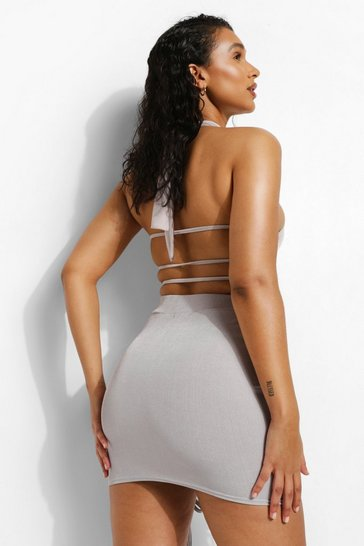 Grey Recycled High Neck Stappy Back Body Suit