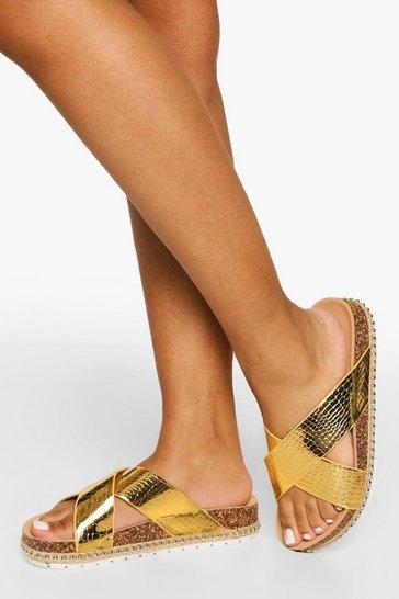 Gold metallic Shiny Snake Pu Cross Over Sandals