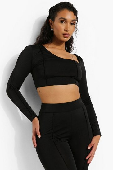 Black Recycled Interest Neck Exposed Seam Crop Top
