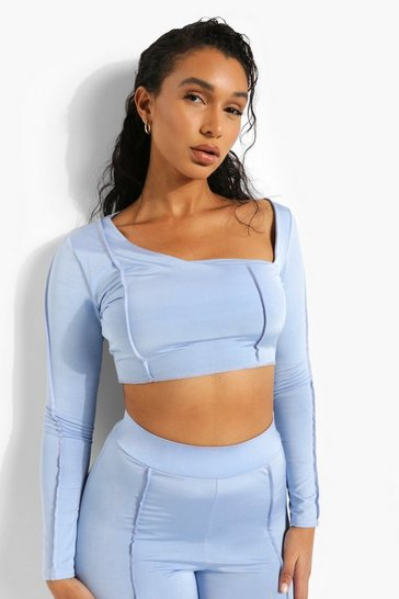 Blue Recycled Interest Neck Exposed Seam Crop Top