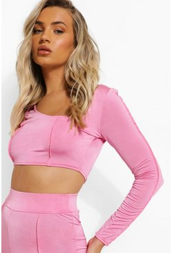 Pink Recycled Interest Neck Exposed Seam Crop Top