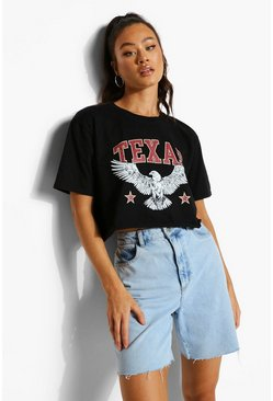 Black Texas Print Cropped T-shirt