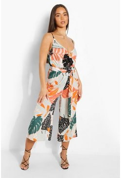 Multi Tropical Tie Waist Wide Leg Jumpsuit