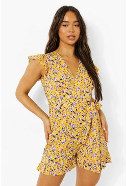 Mustard yellow Mixed Print Tie Waist Flippy Playsuit