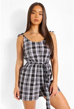 Black Check Tie Strap Flippy Playsuit
