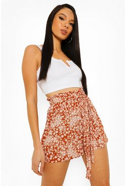 Brown Floral Belted Flippy Shorts
