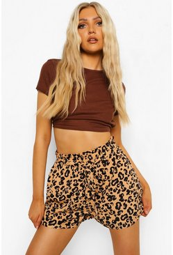 Cream white Leopard Print Flippy Beleted Shorts