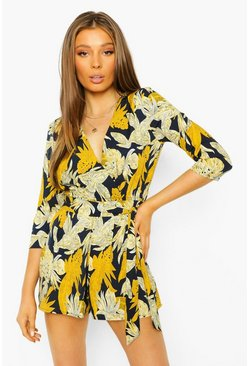 Blue Leaf Print Wrap Belted Playsuit