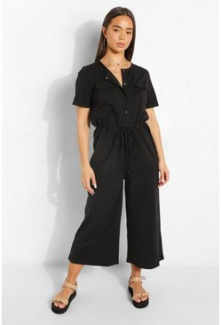 Black Utility Pocket Button Up Culotte Jumpsuit