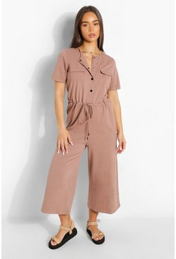Mushroom beige Utility Pocket Button Up Culotte Jumpsuit
