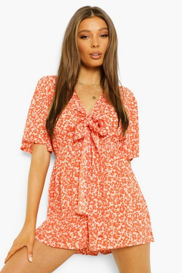 White Floral Tie Bust Cut Out Playsuit