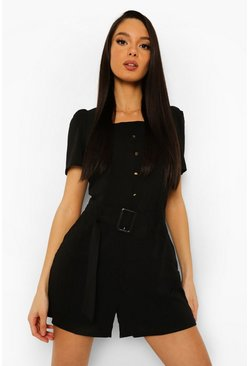 Black Square Neck Belted Playsuit