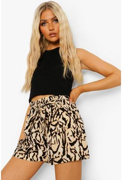 Black Animal Print Belted Flippy Shorts
