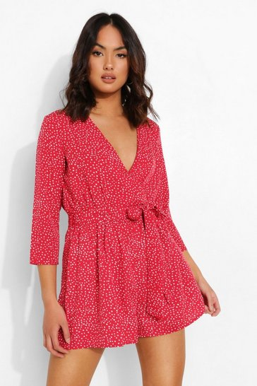 Red Polka Dot Wrap Belted Playsuit