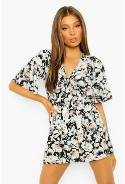 Floral Tie Detail Playsuit, Black nero