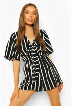 Black Striped Tie Bust Cut Out Playsuit