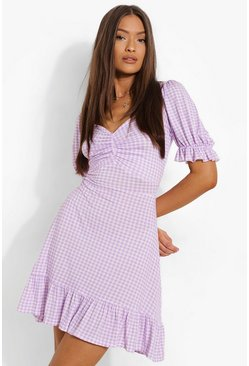 Lilac purple Gingham Lace Up Back Skater Dress