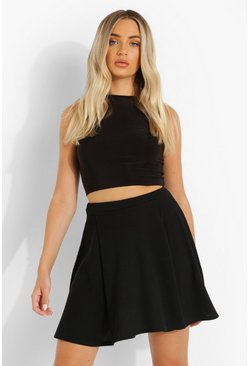 Texture Pleat Skater Skirt, Black Чёрный