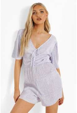 Lilac lila Mixed Print Tie Cut Out Front Flippy Playsuit