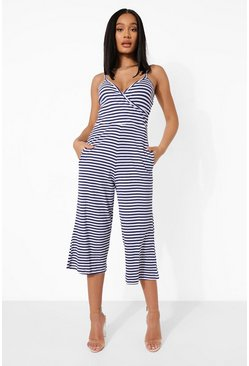 Stripe Wrap Front Culotte Jumpsuit, Navy azul marino