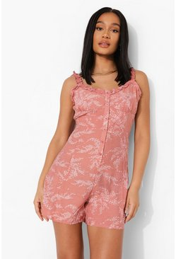 Leaf Print Frill Button Down Flippy Playsuit, Pink rosa