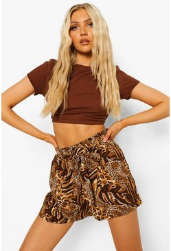 Brown Mixed Animal Print Belted Fippy Short