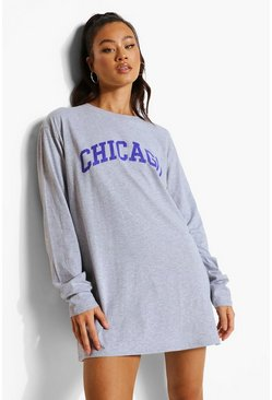 Grey Chicago Long Sleeve T-shirt Dress