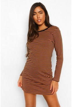 Stone beige Stripe Ringer Long Sleeve T-shirt Dress