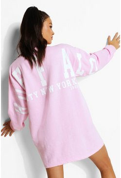 Baby pink pink Varsity Back Print Sweater Dress