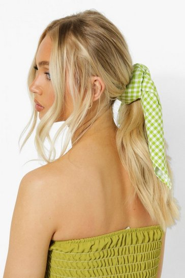 Green Gingham Hair Tie