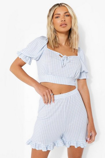 Blue Gingham Ruffle Hem Flippy Shorts