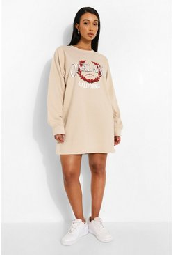 Sand beige Oakland Varsity Print Sweater Dress