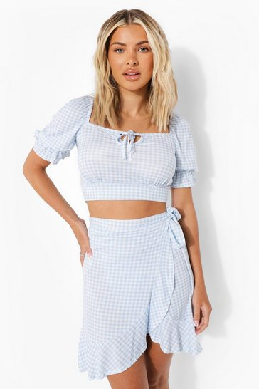 Blue Gingham Frill Detail Skirt Co-ord