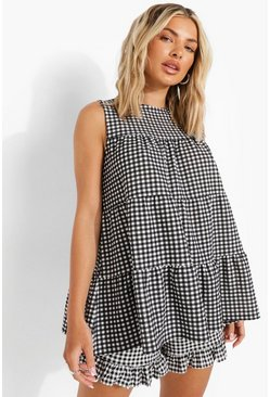 Black Gingham Tiered Smock Top