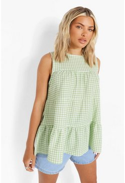 Green Gingham Tiered Smock Top