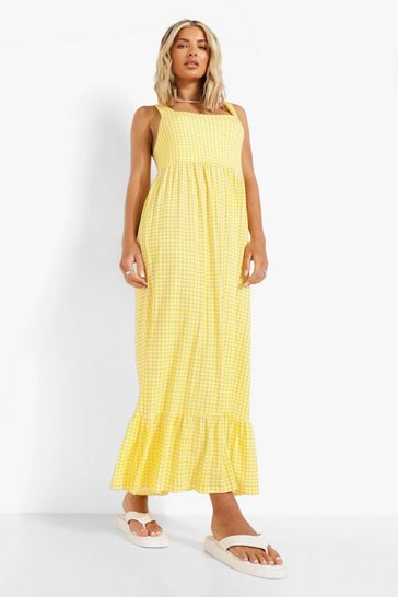 Yellow Gingham Frill Hem Midaxi Dress