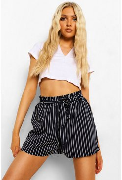 Navy Striped Belted Flippy Shorts
