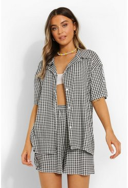 Black Gingham Shirt & Short Co-ord
