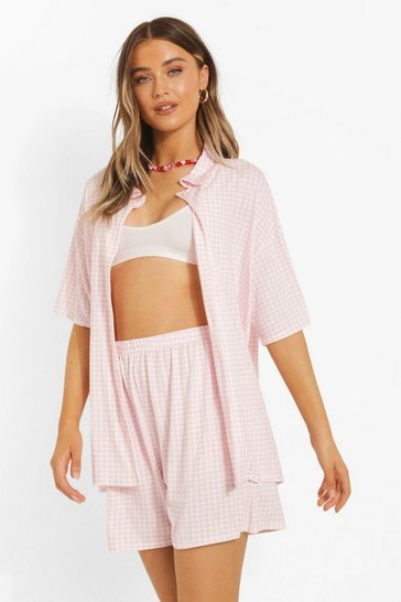 Pink Gingham Shirt & Short Co-ord