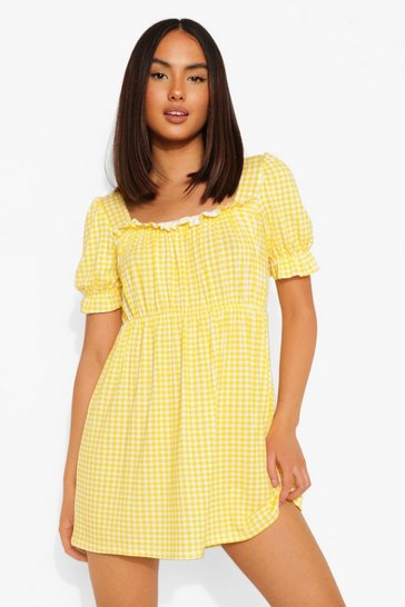 Yellow Gingham Puff Sleeve Smock Dress