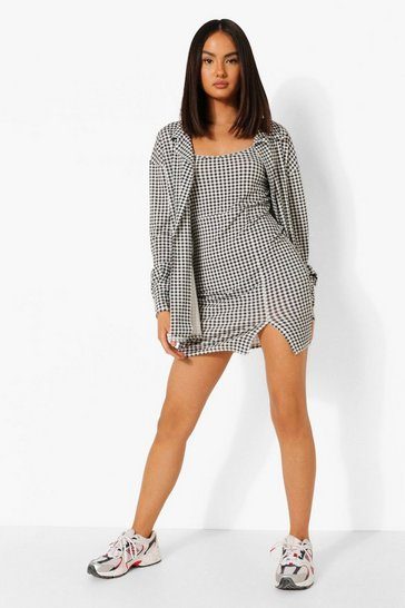 Black Gingham Slip Dress And Shirt