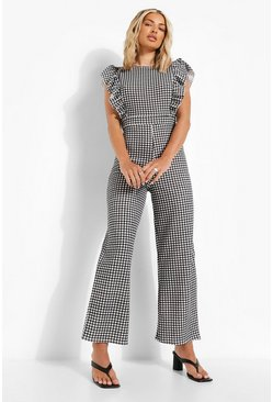 Gingham Frill Sleeve Culotte Jumpsuit, Black nero