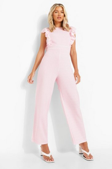 Pink Gingham Frill Sleeve Culotte Jumpsuit
