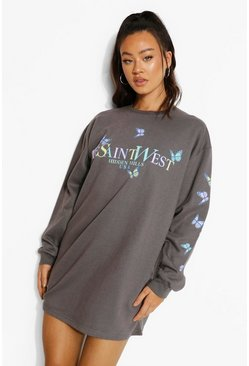 Charcoal grey Ye Saint West Butterfly Print Sweater Dress