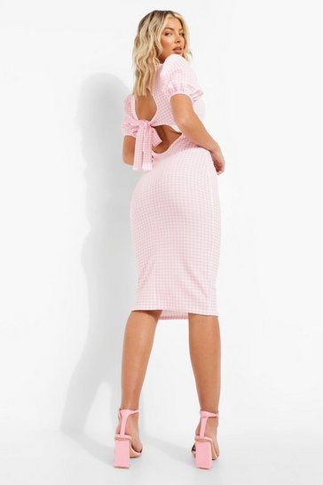 Pink Gingham Open Back Detail Midi Dress