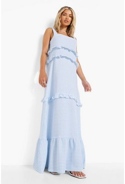 Blue Gingham Frill Tiered Maxi Dress