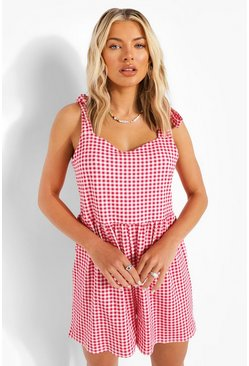 Berry red Gingham Tie Shoulder Playsuit